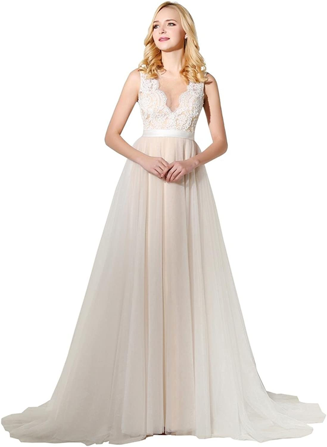 Lavaring Women's Sheer Straps Jewel Covered Button Tulle Train Party Dress