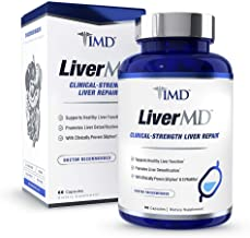 1MD LiverMD - Liver Cleanse Supplement | Siliphos Milk Thistle Extract - Highly Bioavailable, Clinically Studied for Liver Detox | 60 Capsules