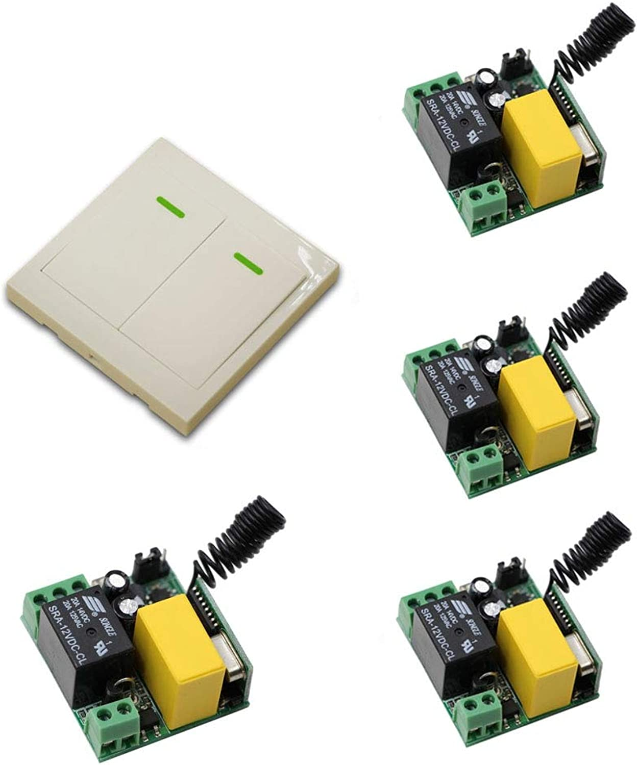 AC 220V Relay Wireless Remote Control Switch ; 4Pcs Receiver + 1Pcs 86 White Wall Panel Transmitter Home LED Lamp Light Switch  (color  315Mhz)