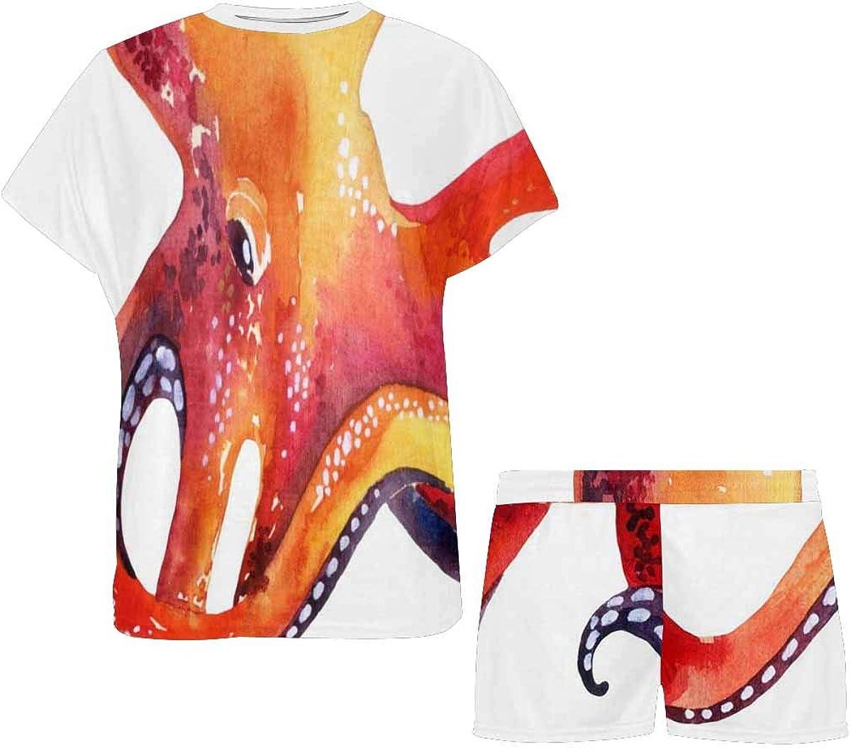 InterestPrint Watercolor Octopus Women's Breathable 2 Piece Shorts Pajama Sleepwear Set