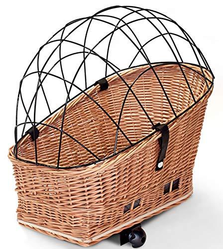 Tigana - Hundefahrradkorb für Gepäckträger aus Weide Natur 56 x 36 cm mit Metallgitter Tierkorb Hinterradkorb Hundekorb für Fahrrad (N-S) (XL ohne Kissen)