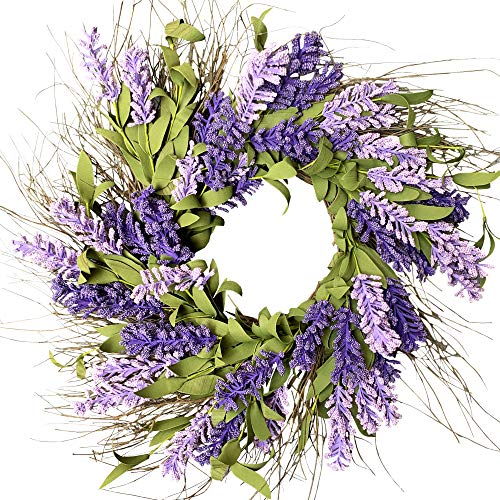 MELAJIA Artificial Lavender Wreath 22 Inch Front Door Wreaths Purple Hyacinth Summer Spring Garland for Home Window Farmhouse Indoor Outdoor