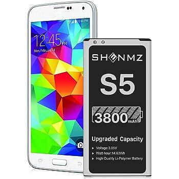Galaxy S5 Battery, 3800mAh [Upgraded] SHENMZ Li-ion Replacement Battery for Samsung Galaxy S5 EB-BG900BBU SM-G900V I9600 SM-G900H SM-G900A SM-G900TR SM-G900P SM-G900T SM-G900R - 18 Months Warranty