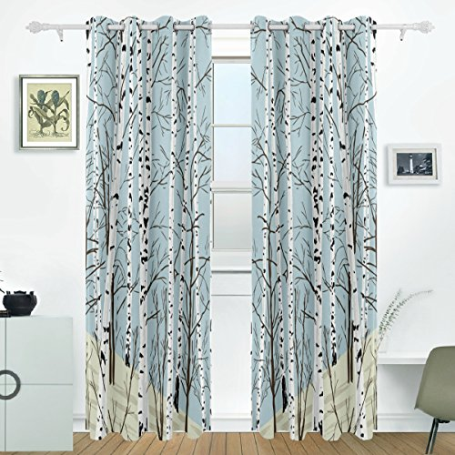 jstel Birke Baum Vorhänge Panels Verdunklung Blackout Tülle Raumteiler für Terrasse Fenster Glas-Schiebetür Tür 139,7x 213,4cm, Set von 2