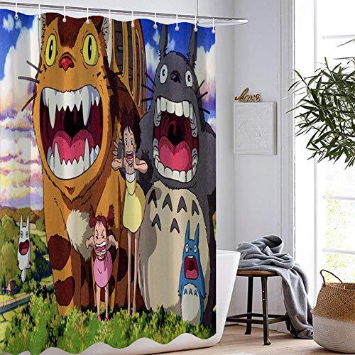 DAMCOK Cartoon Anime Film Badezimmer Dekor Cartoon Totoro Duschvorhänge Wasserdicht Polyester Stoff Waschbare Badezimmer Gardinen-B180cmxH180cm