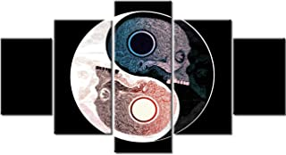 Tai Chi Head Paintings Abstract Human Skeleton Pictures 5 Piece Canvas Wall Art for Living Room Meditation Concept Artwork Modern House Decoration Framed Ready to Hang Posters and Prints(60''Wx32''H)