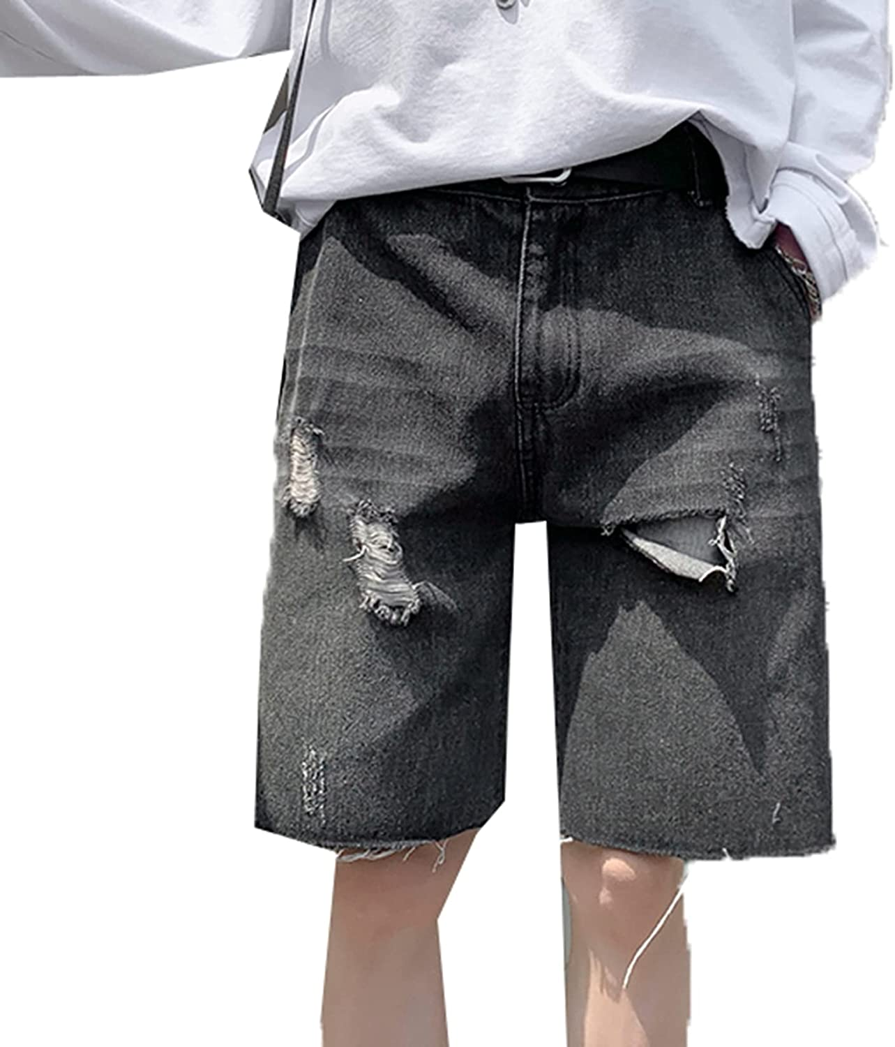 Generic2 Men's Summer Jeans Shorts Ripped Hole Denim Bottoms Wild Streetwear Style Durable Half-Length Jeans