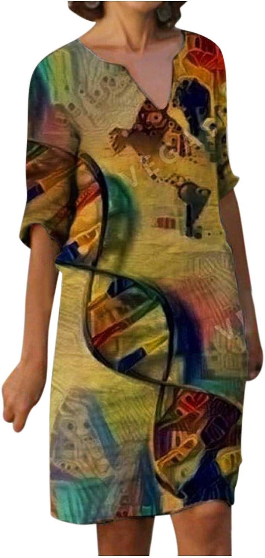 JPLZi Linen Dresses for Women Casual Summer Plus Size Gauze Floral Print Knee Length Half Sleeve V Neck Dress