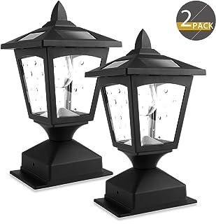 چراغ های خورشیدی در فضای باز ، چراغ های خورشیدی درپوش لامپ برای پست های نرده های چوبی مسیر ، عرشه ، بسته 2