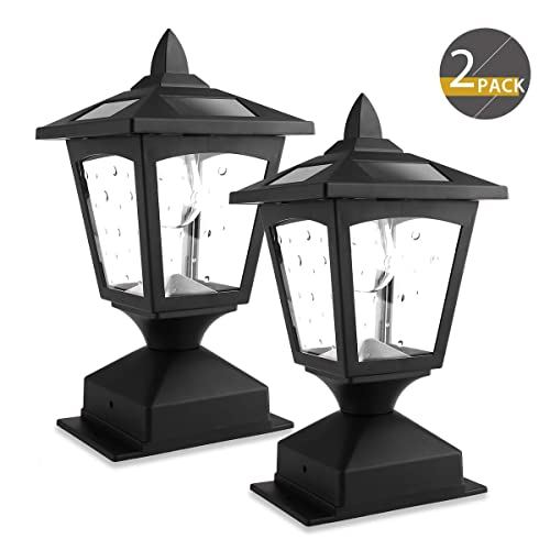4 x 4 Solar Post Lights Outdoor, Solar Lamp Post Cap Lights for Wood Fence