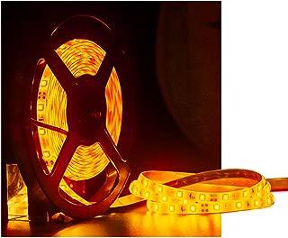 Tasodin Water-Resistance IP65, 12V Waterproof Flexible LED Strip Light, 16.4ft/5m Cuttable LED Light Strips, 300 Units 3528 LEDs Lighting String, LED Tape(Orange) Power Adapter not Included