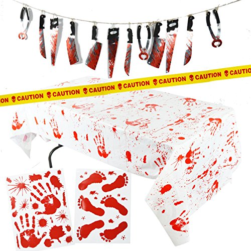 Spooktacular Creations Halloween Party Decoration Set, Including Bloody Tablecover, Weapon Garland, Bloody Clings and…