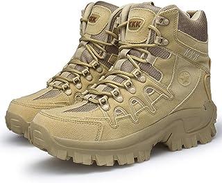 Bititger - Stivali da uomo, in pelle, stile militare, impermeabili, con cerniera, tattici, per ambienti esterni, per forze...