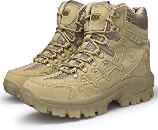 Men's Combat Boots with Side Zipper Velcro and Casual Outdoor Mountaineering Trekking Commando Tactical Boots