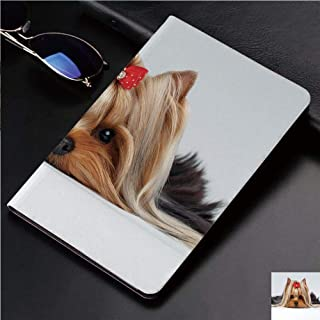 Magnetic Leather Auto Sleep Awake Smart Case Cover for Apple iPad 2 3 4 9.7inch Soft TPU Cute Covers,with Cute Ribbon Yorkie Love Portrait of a Dog