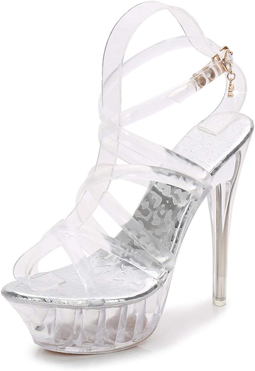 High Heels Womens Sandals Transparent Crystal Heel Model T Stage Sexy Lady Heeled shoes 35-43,1459,12