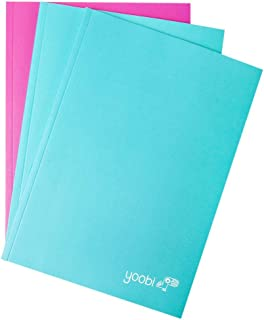 Yoobi 3 Pack Notebook, Textured, Aqua and Pink