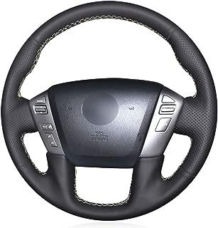 MEWANT DIY Black Artificial Leather Steering Wheel Cover for Nissan Patrol 2011-2017 Armada 2013-2019 NV Cargo NV Passenger (US) 2012-2018 Titan 2013-2018 Infiniti QX56 2011-2013 QX80 2014-2019
