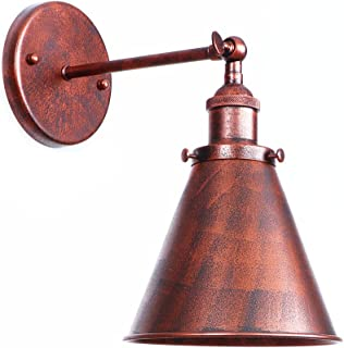 Wall Lamp Cone Shape Wall-Light One-Light Wall Sconce Iron Wall Mount Light Indoor Decor Rust