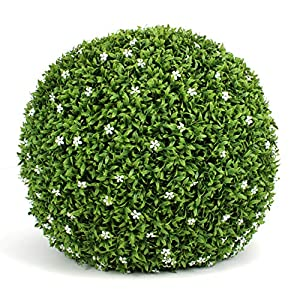3rd Street Inn White Flower Grass Topiary Ball – 19″ Artificial Topiary Plant – Wedding Decor – Indoor/Outdoor Artificial Plant Ball – Topiary Tree Substitute (1-Single)