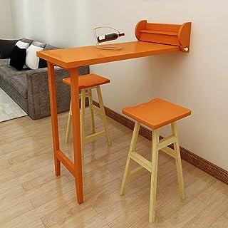 ZHENAO Ordinateur de ménage mural - Table pliante murale Drop-Leaf Barre en bois massif Table de salle à manger Mur