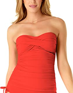 Anne Cole Twist-Front Ruched Tankini Top, Coral Reef L