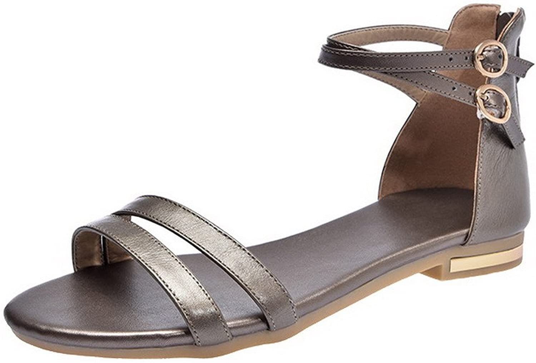 WeenFashion Women's Zipper Open-Toe Low-Heels Pu Solid Sandals, CA18LA03503