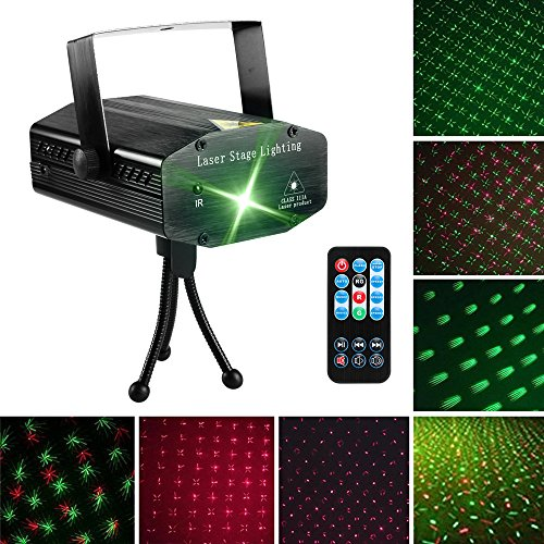 LED Laser Party Lights Projector Zacfton Led Stage Lights Mini Auto Flash RGB Sound Activated for Disco DJ Party Home Show Birthday Wedding Halloween Christmas Holiday Black (Black)