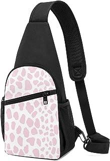 Mochila de hombro ligera con lunares en color rosa pastel para el pecho y el hombro, bolsa cruzada, para viajes, senderism...
