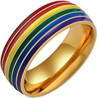 PAMTIER Homosexuality Stainless Steel Retro Rainbow Ring for Womens and Mens