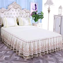 RUIDP Bed Valances Polyester Cotton Lace Embroidery Solid Color Bed Skirt Valance Fitted Sheets Double Bed Easy Care Valance Sheet Pink Valance Sheet Frilled Base Valance Sheet