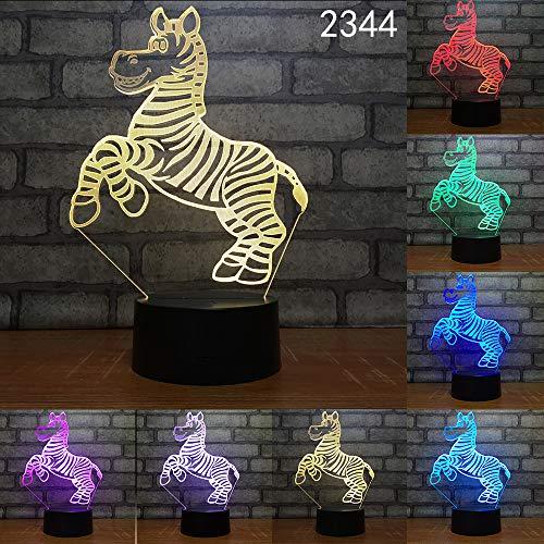 Jiushixw 3D acryl nachtlampje met afstandsbediening van kleur veranderende lamp Cartoon schattig diermodel voor baby dimbare touch tafellamp schijnwerper