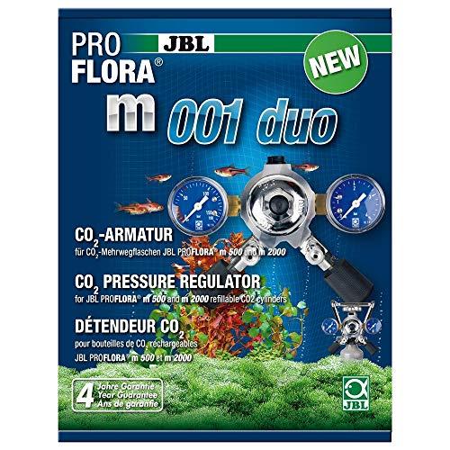 JBL ProFlora m001 duo 2 64465 Armatur zur Druckminderung von CO2-Mehrwegflaschen für Aquarien, 2 Abgänge
