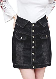 BerryGo Women's High Waist Button Down Denim Skirt Pencil Short Skirt