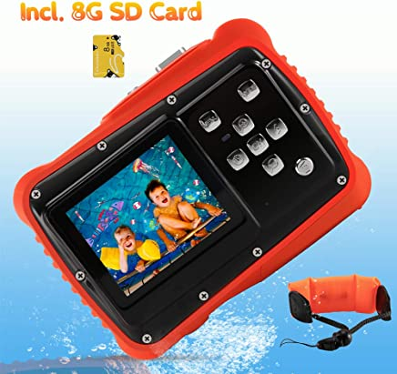 Waterproof Camera for Kids, CrazyFire 12MP HD Underwater Digital Camera Children Birthday Gift, 2.0 Inch LCD Display, 8X Digital Zoom with 8G SD Card and Floating Wrist Strap