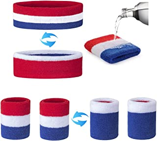 Reversible Sweatband Set,Prevent Sweat from Burning Eyes, 1 Headband 2 Wristband,Cotton Terry,Do a Good Absorbing Sweat,Keep Cool, for Sport Workout Yoga Gym Party, Keep Warm in Cold Day,Red