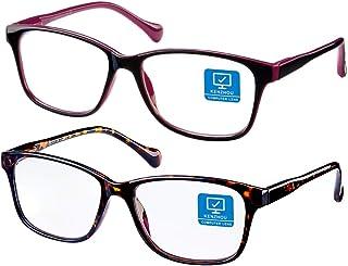 Blue Light Blocking glasses/Computer Glasses 2 Pack Anti Eye Eyestrain Unisex(Men/Women) Glasses with Spring Hinges UV Pro...