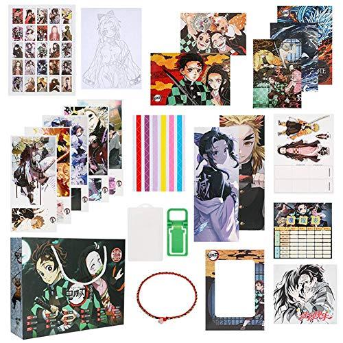SGOT 154 Stück Demon Slayer Geschenkset, Poster + Sticker+ Postkarte + Lesezeichen + Acrylfigur usw., Anime Geschenkset für Fans