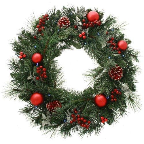 WeRChristmas - Ghirlanda natalizia decorativa, illuminata da 20 LED, luce bianca calda, colore: rosso / ghiaccio, diametro: 60 cm