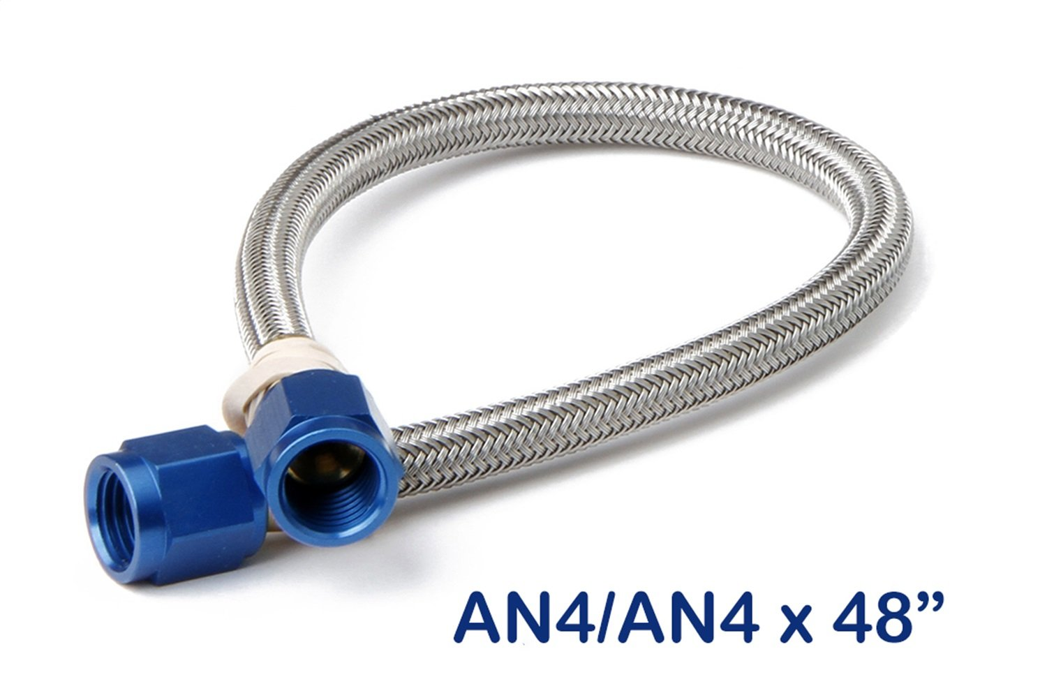 NOS 15250NOS Stainless Steel 4' Braided Hose with -4AN Blue Fittings
