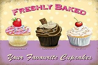 Fresh Baked Cupcakes Lámina de Metal Retro para Bodega de Bodega casera Tienda de decoración del hogar