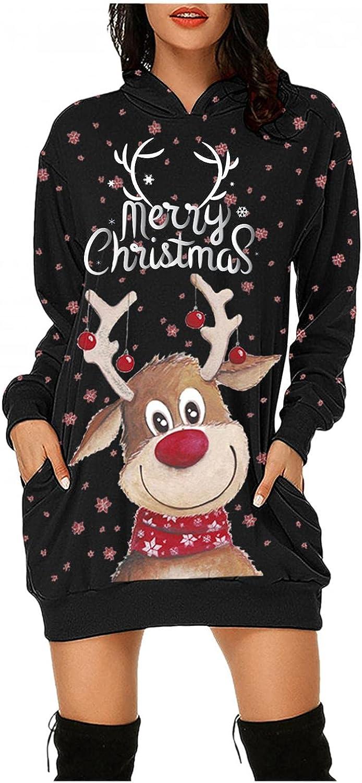Womens Merry Christmas Hoodies Dress with Pocket Cute Cartoon Sequined Reindeer Snowflake Long Sleeve Ugly Tunic Sweatshirt