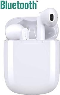 Auriculares Inalámblicos Bluetooth 5.0 Cascos, Mini TWS Sin Cable Cascos In-Ear con Micrófonos Dual, Audífonos Deportivos con Caja de Carga 25 hrs, compatibles con TV, Smartphone, Tablets -Blanco