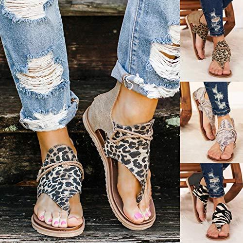 99native Damen Pantoletten,Mode Shoes Vintage Flip Flop Schuhe Bequeme Sandalen, Kunstleder Zehentrenner Hausschuhe (39, C)