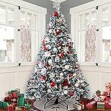 SAFGH Árbol de Navidad de 7.5 pies, Bisagra de Nieve flocada de Alto Grado de Halloween Árbol automático automático Árbol de Navidad Blanco para el hogar, la Oficina, la Fiesta Decoraciones Navide