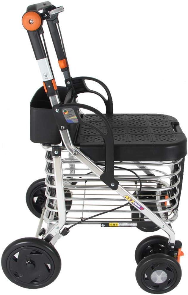 DFJU Andador con Andador Plegable de 4 Ruedas, Ligero y Compacto con Asiento, Altura Ajustable y 4 Ruedas para Compras