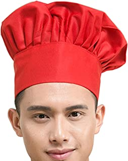 Hyzrz Chef Hat Adult Adjustable Elastic Baker Kitchen Cooking Chef Cap, Red