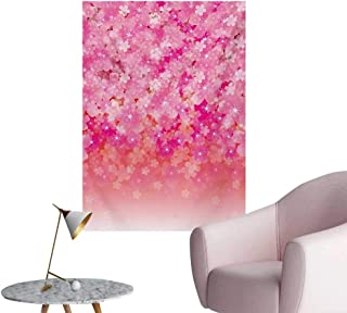 Anzhutwelve Pale Pink Wall Paper Cherry Blossom Tree Flowers in Vibrant Tones Spring Beauty Illustration JapanPink Pale Pink W24 xL36 Poster Paper