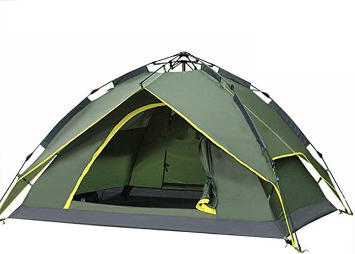 Tente 3-4 Personnes Double Traction Corde Libre Construction Vitesse Ouverte de Camping en Plein air ZXCV