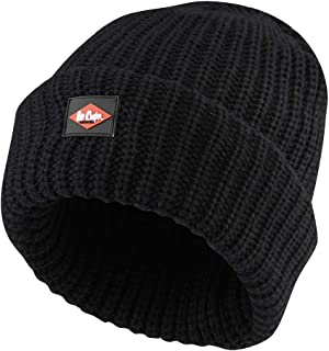 Lee Cooper LCHAT624 Men's Chunky Knit Fleece Lined Beanie, Black, S/M